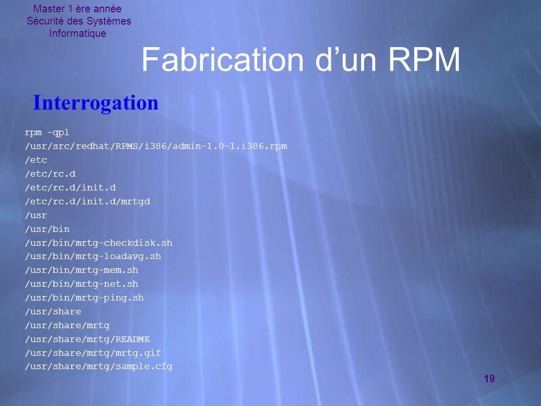 Master 1 ère année Sécurité des Systèmes Informatique 19 Fabrication dun RPM rpm -qpl /usr/src/redhat/RPMS/i386/admin-1.0-1.i386.rpm /etc /etc/rc.d /etc/rc.d/init.d /etc/rc.d/init.d/mrtgd /usr /usr/bin /usr/bin/mrtg-checkdisk.sh /usr/bin/mrtg-loadavg.sh /usr/bin/mrtg-mem.sh /usr/bin/mrtg-net.sh /usr/bin/mrtg-ping.sh /usr/share /usr/share/mrtg /usr/share/mrtg/README /usr/share/mrtg/mrtg.gif /usr/share/mrtg/sample.cfg rpm -qpl /usr/src/redhat/RPMS/i386/admin-1.0-1.i386.rpm /etc /etc/rc.d /etc/rc.d/init.d /etc/rc.d/init.d/mrtgd /usr /usr/bin /usr/bin/mrtg-checkdisk.sh /usr/bin/mrtg-loadavg.sh /usr/bin/mrtg-mem.sh /usr/bin/mrtg-net.sh /usr/bin/mrtg-ping.sh /usr/share /usr/share/mrtg /usr/share/mrtg/README /usr/share/mrtg/mrtg.gif /usr/share/mrtg/sample.cfg Interrogation