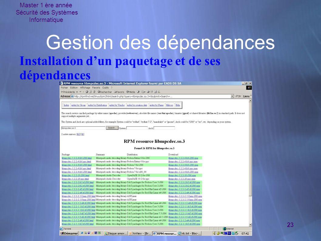 Master 1 ère année Sécurité des Systèmes Informatique 23 Gestion des dépendances Installation dun paquetage et de ses dépendances