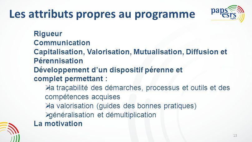 Les attributs propres au programme 13 Rigueur Communication Capitalisation, Valorisation, Mutualisation, Diffusion et Pérennisation Développement dun