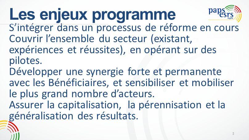 Les enjeux programme Sintégrer dans un processus de réforme en cours Couvrir lensemble du secteur (existant, expériences et réussites), en opérant sur