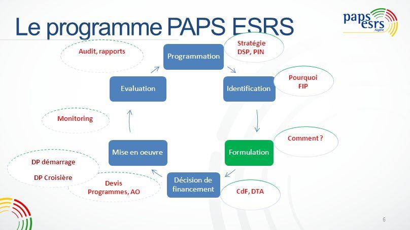 Le programme PAPS ESRS ProgrammationIdentificationFormulation Décision de financement Mise en oeuvreEvaluation Stratégie DSP, PIN Pourquoi FIP Comment