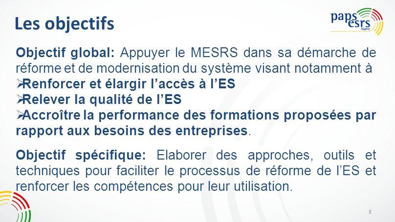 Les objectifs 8 Objectif global: Appuyer le MESRS dans sa démarche de réforme et de modernisation du système visant notamment à Renforcer et élargir l