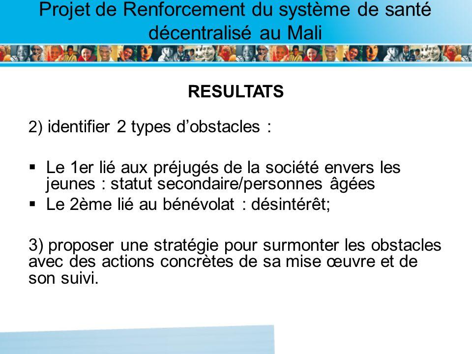 Page intérieure Projet de Renforcement du système de santé décentralisé au Mali RESULTATS 2) identifier 2 types dobstacles : Le 1er lié aux préjugés d
