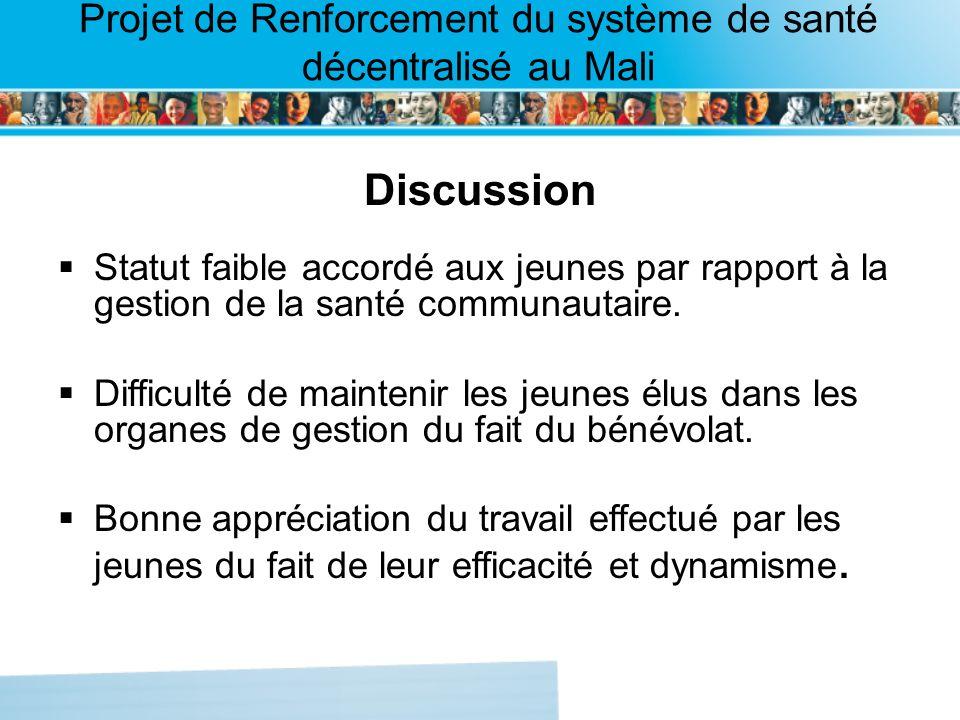 Page intérieure Projet de Renforcement du système de santé décentralisé au Mali Discussion Statut faible accordé aux jeunes par rapport à la gestion d