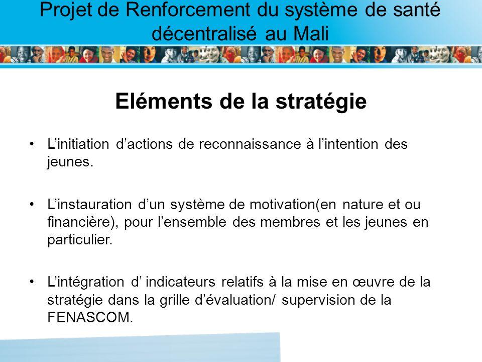Page intérieure Projet de Renforcement du système de santé décentralisé au Mali Eléments de la stratégie Linitiation dactions de reconnaissance à lintention des jeunes.