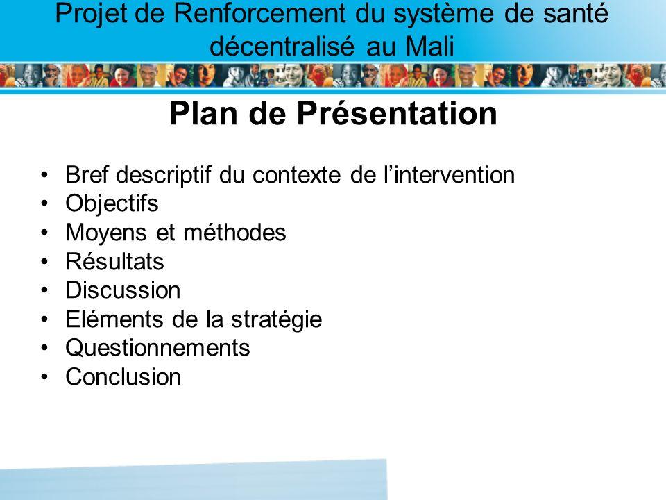 Page intérieure Projet de Renforcement du système de santé décentralisé au Mali Plan de Présentation Bref descriptif du contexte de lintervention Objectifs Moyens et méthodes Résultats Discussion Eléments de la stratégie Questionnements Conclusion