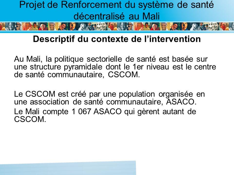 Page intérieure Projet de Renforcement du système de santé décentralisé au Mali Descriptif du contexte de lintervention(suite) Les ASACO sont regroupées en : Fédérations locales de santé communautaire, FELASCOM; Fédérations régionales, FERASCOM, Fédération nationale, FENASCOM.