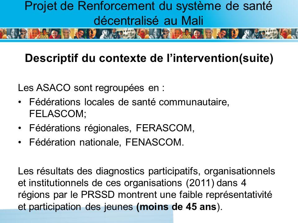 Page intérieure Projet de Renforcement du système de santé décentralisé au Mali Descriptif du contexte de lintervention(suite) Les ASACO sont regroupé