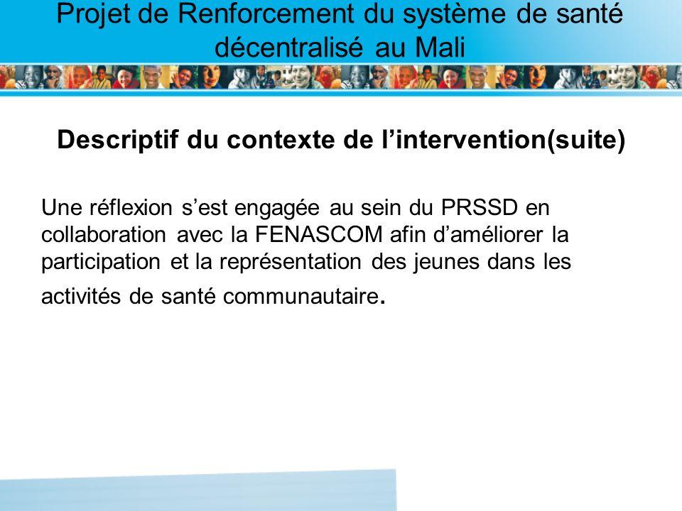 Page intérieure Projet de Renforcement du système de santé décentralisé au Mali Descriptif du contexte de lintervention(suite) Une réflexion sest engagée au sein du PRSSD en collaboration avec la FENASCOM afin daméliorer la participation et la représentation des jeunes dans les activités de santé communautaire.