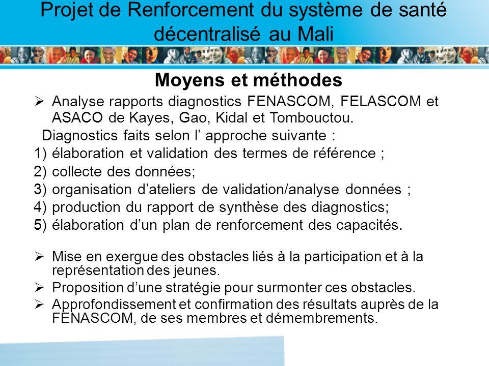 Page intérieure Projet de Renforcement du système de santé décentralisé au Mali Moyens et méthodes Analyse rapports diagnostics FENASCOM, FELASCOM et