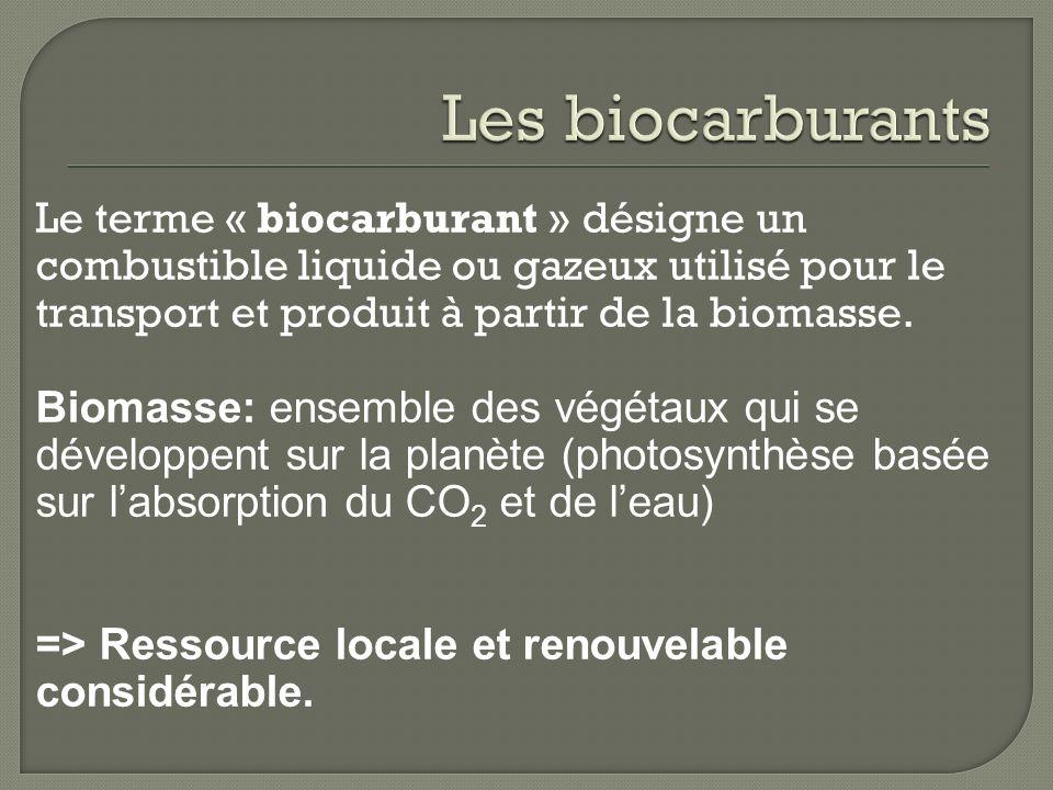 Le terme « biocarburant » désigne un combustible liquide ou gazeux utilisé pour le transport et produit à partir de la biomasse. Biomasse: ensemble de