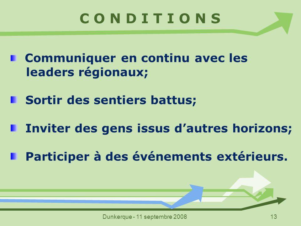 Dunkerque - 11 septembre 200813 C O N D I T I O N S Communiquer en continu avec les leaders régionaux; Sortir des sentiers battus; Inviter des gens is