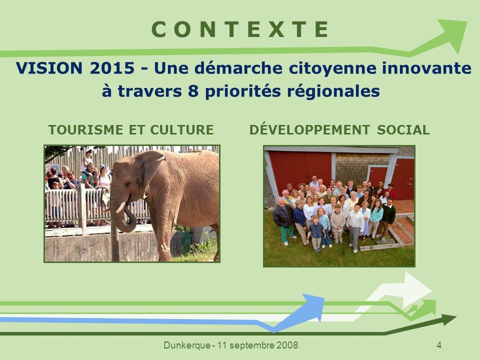 Dunkerque - 11 septembre 20085 C O N T E X T E VISION 2015 - Une démarche citoyenne innovante à travers 8 priorités régionales STRATÉGIE JEUNESSE SANTÉ ET MILIEU DE VIE