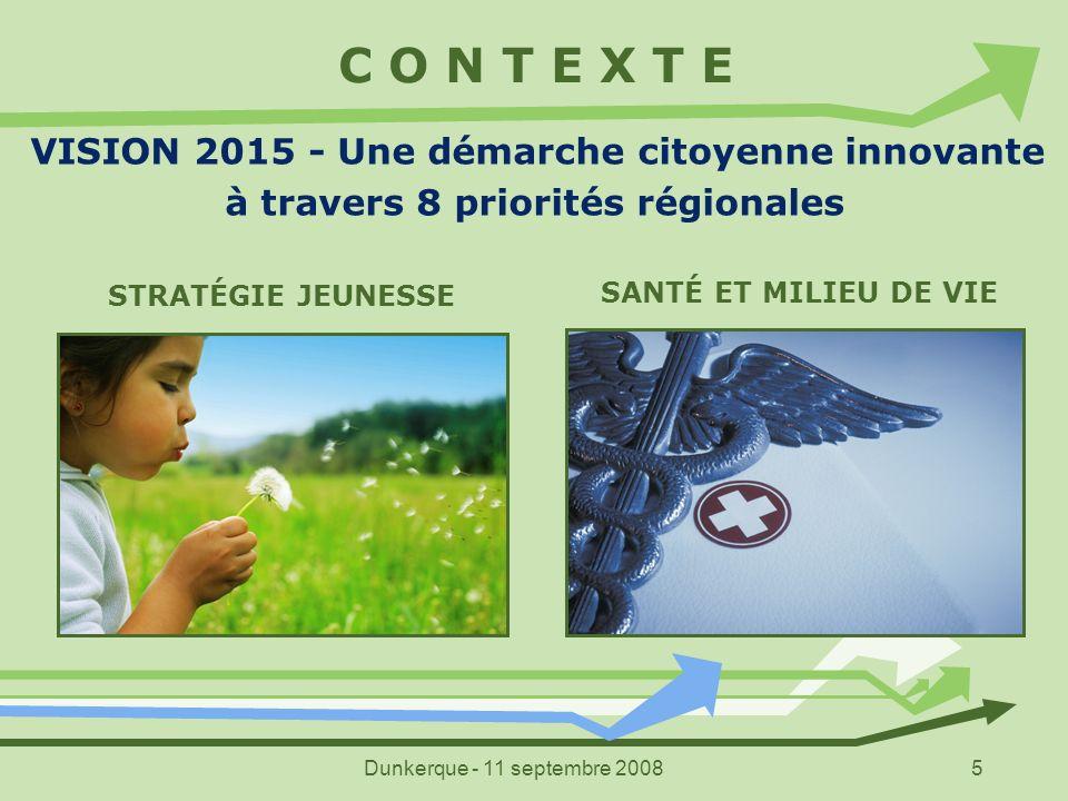 Dunkerque - 11 septembre 20085 C O N T E X T E VISION 2015 - Une démarche citoyenne innovante à travers 8 priorités régionales STRATÉGIE JEUNESSE SANT