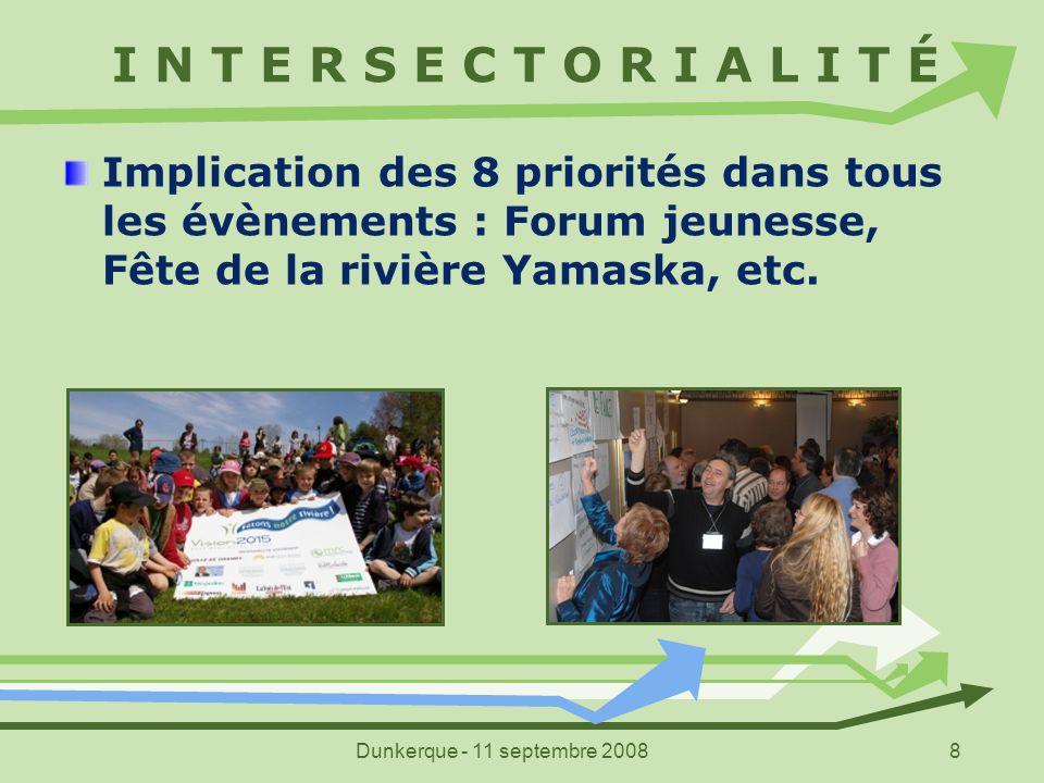 Dunkerque - 11 septembre 20088 I N T E R S E C T O R I A L I T É Implication des 8 priorités dans tous les évènements : Forum jeunesse, Fête de la riv