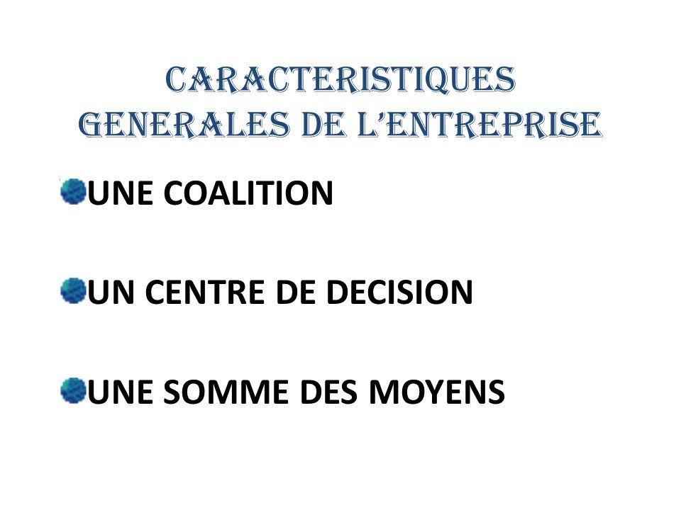 CARACTERISTIQUES GENERALES DE LENTREPRISE UNE COALITION UN CENTRE DE DECISION UNE SOMME DES MOYENS