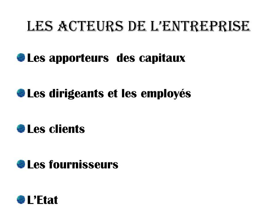 Les acteurs de lentreprise Les apporteurs des capitaux Les dirigeants et les employés Les clients Les fournisseurs LEtat