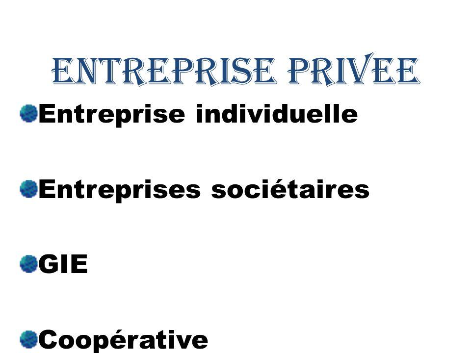 ENTREPRISE PRIVEE Entreprise individuelle Entreprises sociétaires GIE Coopérative