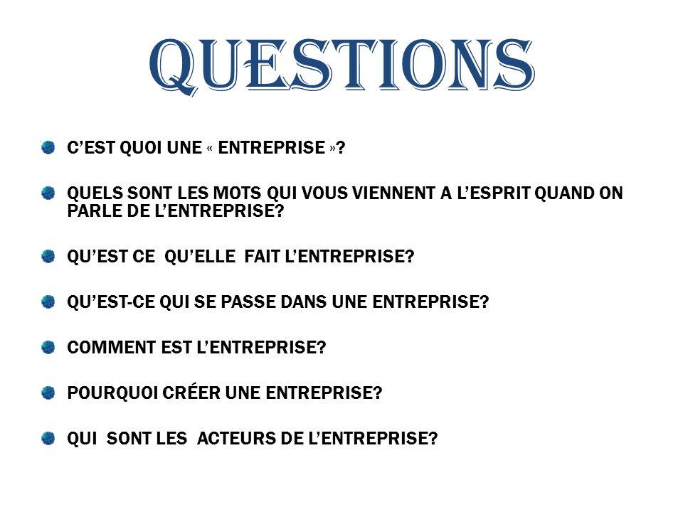 QUESTIONS CEST QUOI UNE « ENTREPRISE ».
