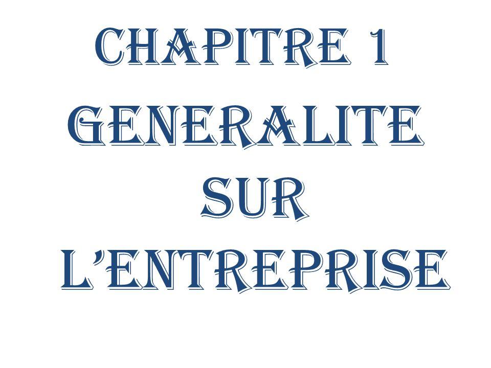 CHAPITRE 1 GENERALITE SUR LENTREPRISE