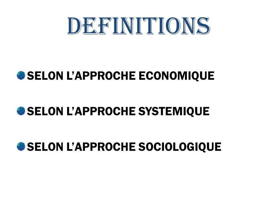 DEFINITIONS SELON LAPPROCHE ECONOMIQUE SELON LAPPROCHE SYSTEMIQUE SELON LAPPROCHE SOCIOLOGIQUE