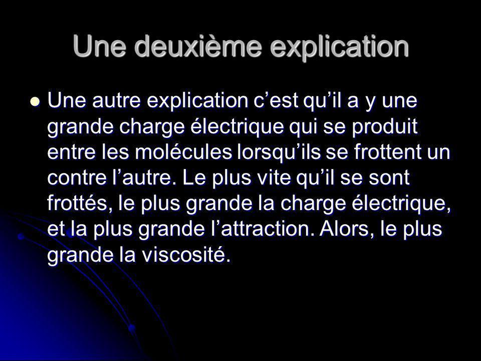 Une deuxième explication Une autre explication cest quil a y une grande charge électrique qui se produit entre les molécules lorsquils se frottent un contre lautre.