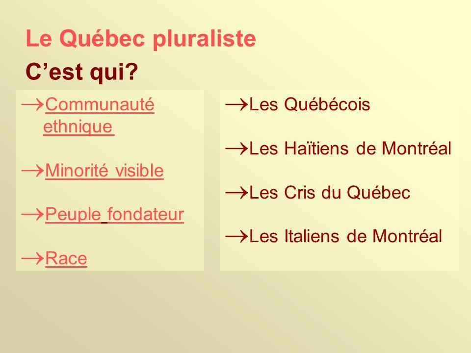 Le Québec pluraliste Communauté ethnique Minorité visible Peuple fondateur Race Les Québécois Les Haïtiens de Montréal Les Cris du Québec Les Italiens de Montréal Cest qui?