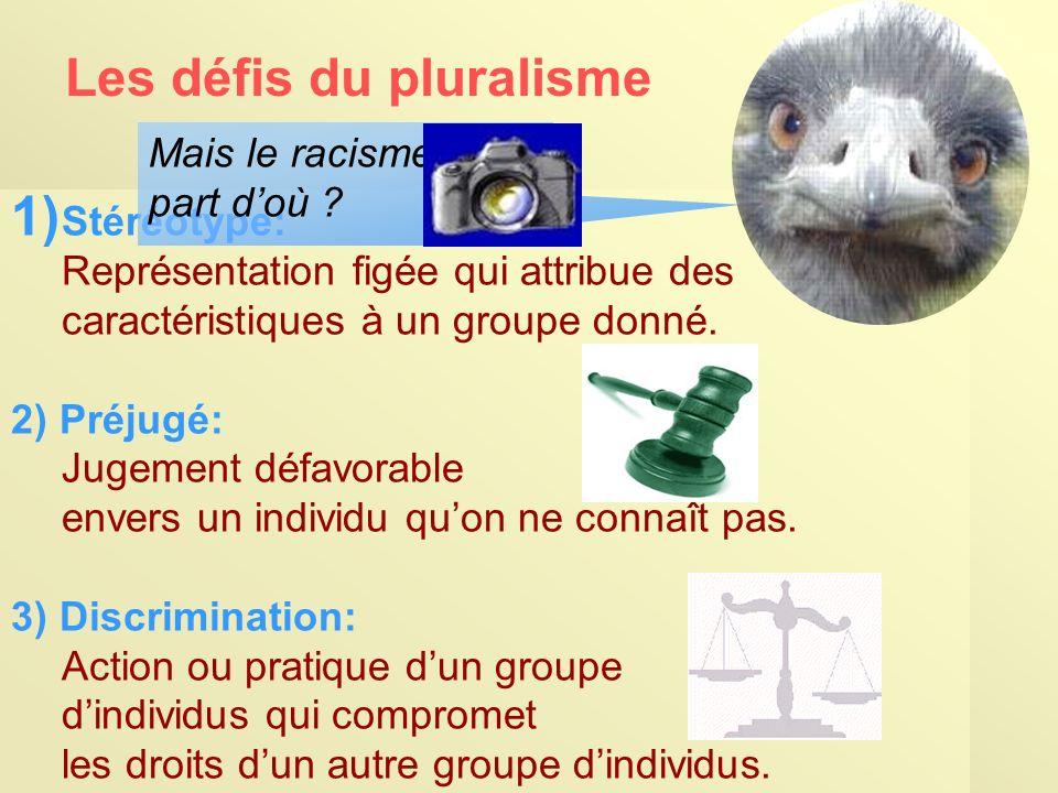 Les défis du pluralisme 1) Stéréotype: Représentation figée qui attribue des caractéristiques à un groupe donné.