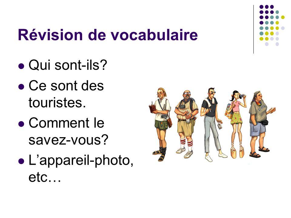 Révision de vocabulaire Qui sont-ils? Ce sont des touristes. Comment le savez-vous? Lappareil-photo, etc…