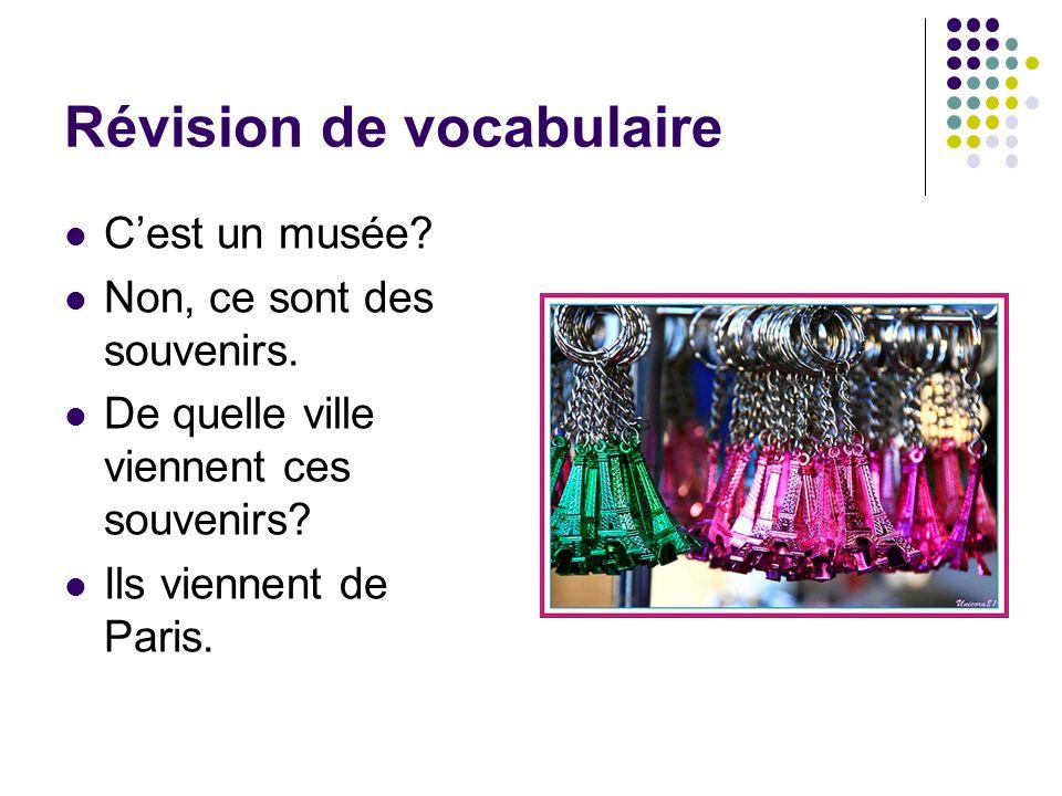 Révision de vocabulaire Cest un musée? Non, ce sont des souvenirs. De quelle ville viennent ces souvenirs? Ils viennent de Paris.