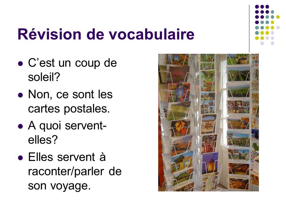 Révision de vocabulaire Cest un coup de soleil? Non, ce sont les cartes postales. A quoi servent- elles? Elles servent à raconter/parler de son voyage