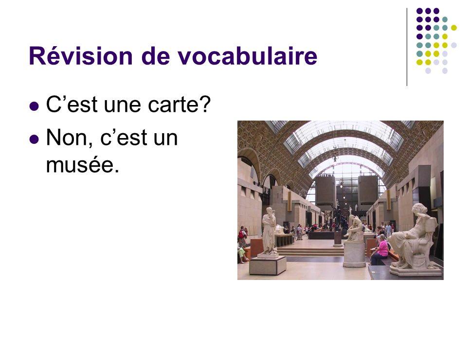 Révision de vocabulaire Cest une carte? Non, cest un musée.