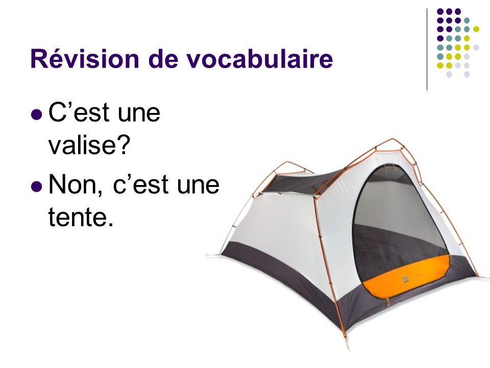 Révision de vocabulaire Cest une valise? Non, cest une tente.