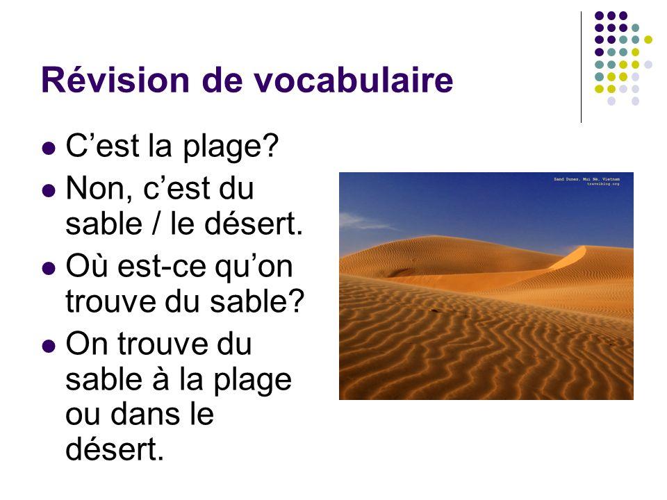 Révision de vocabulaire Cest la plage? Non, cest du sable / le désert. Où est-ce quon trouve du sable? On trouve du sable à la plage ou dans le désert