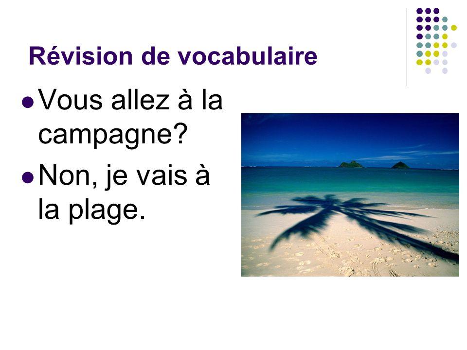 Révision de vocabulaire Vous allez à la campagne? Non, je vais à la plage.