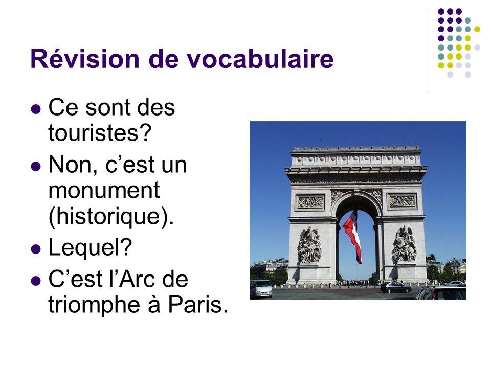 Révision de vocabulaire Ce sont des touristes? Non, cest un monument (historique). Lequel? Cest lArc de triomphe à Paris.