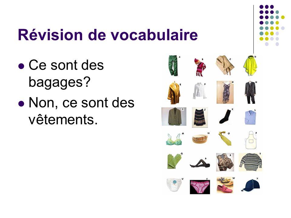 Révision de vocabulaire Ce sont des bagages? Non, ce sont des vêtements.