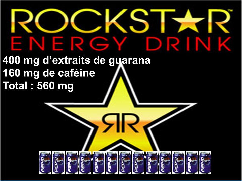 400 mg dextraits de guarana 160 mg de caféine Total : 560 mg
