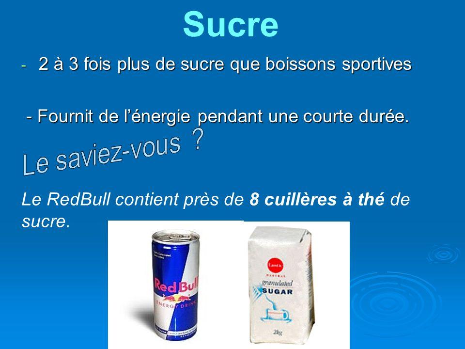 - 2 à 3 fois plus de sucre que boissons sportives - Fournit de lénergie pendant une courte durée. - Fournit de lénergie pendant une courte durée. Le R