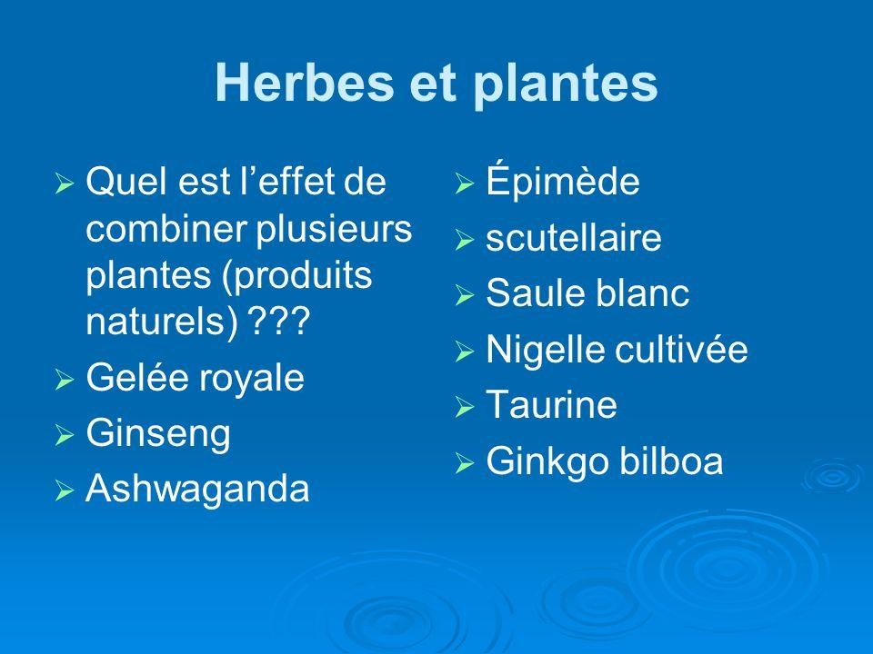 Herbes et plantes Quel est leffet de combiner plusieurs plantes (produits naturels) ??? Gelée royale Ginseng Ashwaganda Épimède scutellaire Saule blan