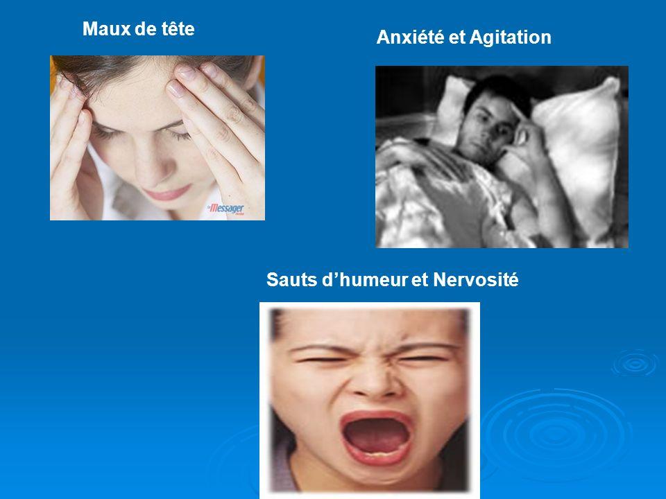 Maux de tête Anxiété et Agitation Sauts dhumeur et Nervosité