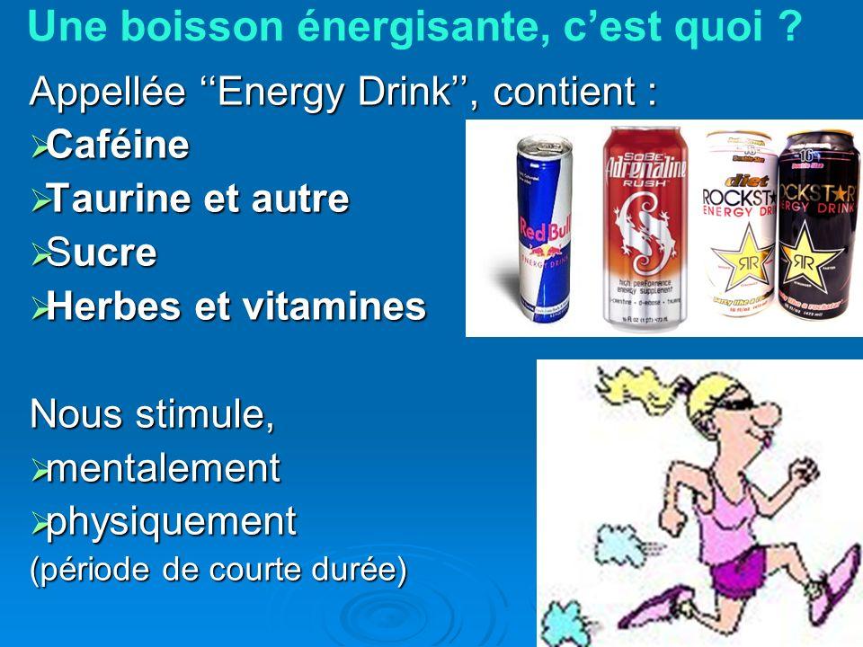 Une boisson énergisante, cest quoi ? Appellée Energy Drink, contient : Caféine Caféine Taurine et autre Taurine et autre Sucre Sucre Herbes et vitamin