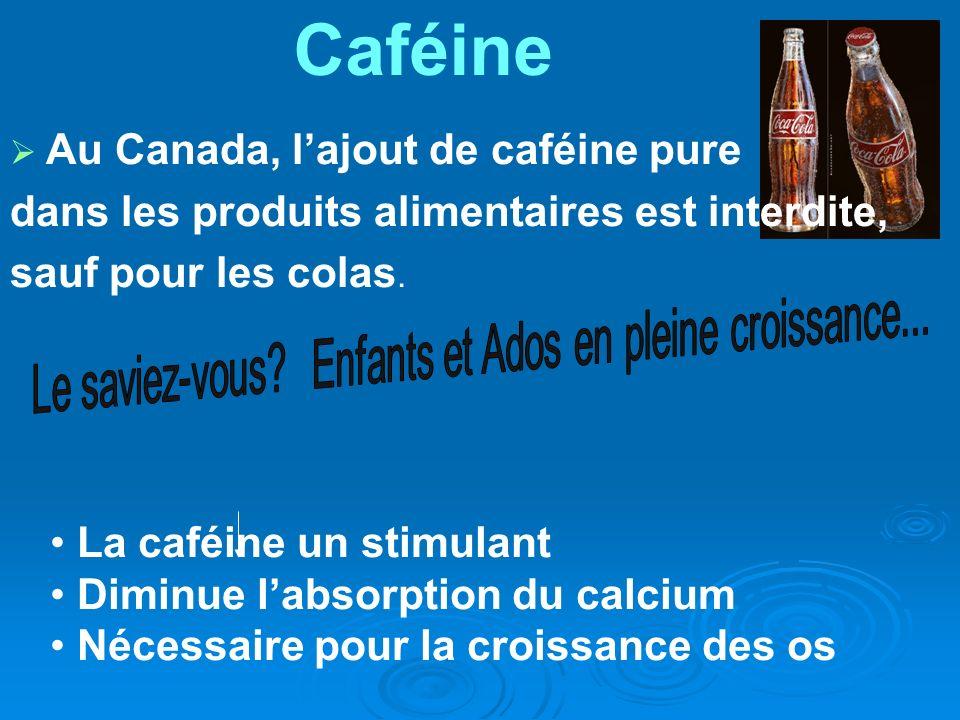 Au Canada, lajout de caféine pure dans les produits alimentaires est interdite, sauf pour les colas. La caféine un stimulant Diminue labsorption du ca