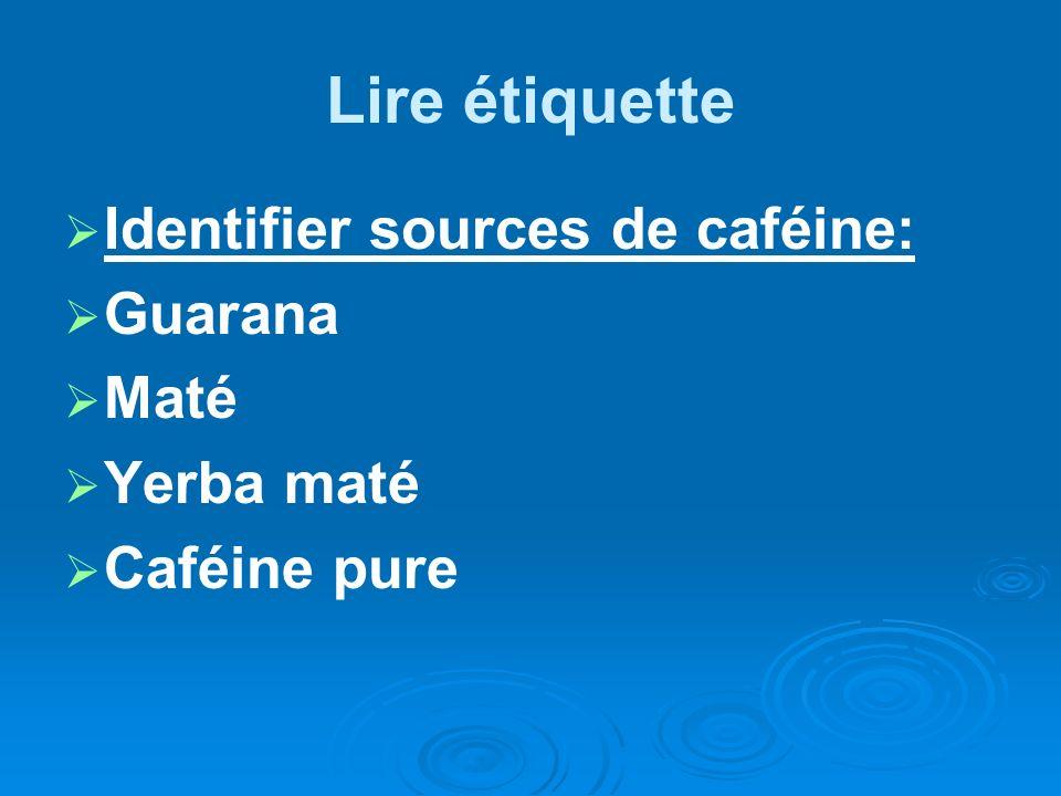 Lire étiquette Identifier sources de caféine: Guarana Maté Yerba maté Caféine pure