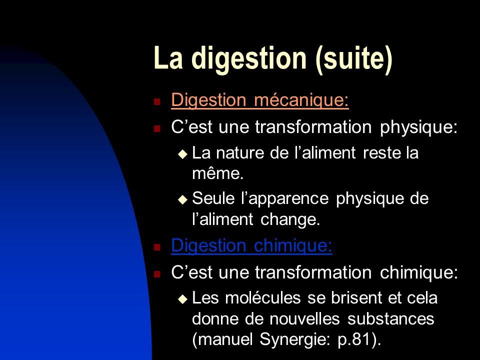 La digestion (suite) Digestion mécanique: Cest une transformation physique: La nature de laliment reste la même. Seule lapparence physique de laliment