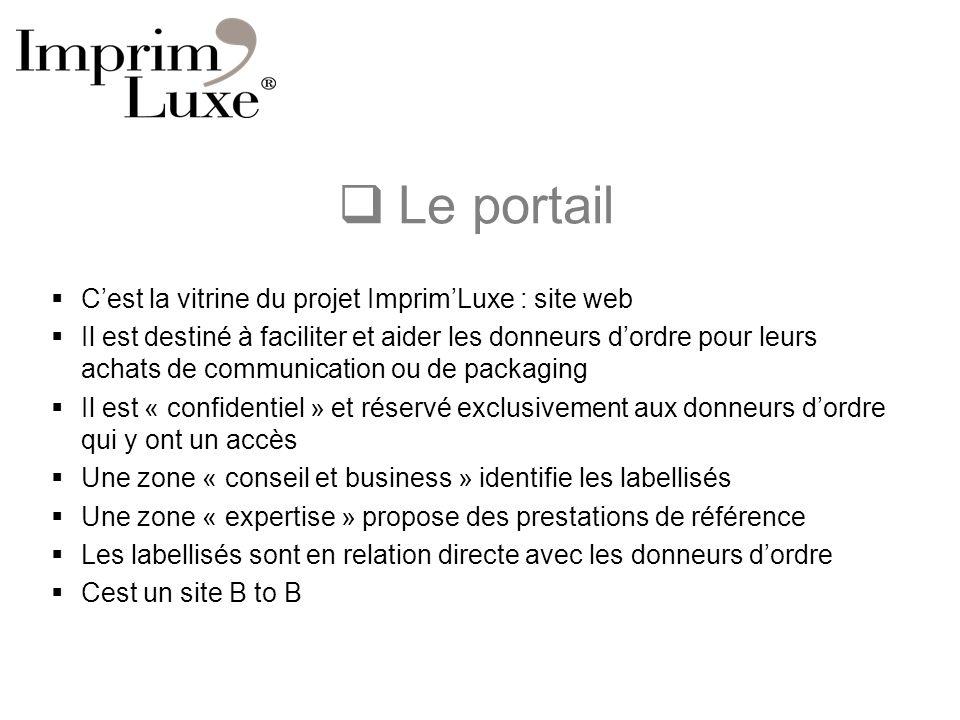 Le portail Cest la vitrine du projet ImprimLuxe : site web Il est destiné à faciliter et aider les donneurs dordre pour leurs achats de communication