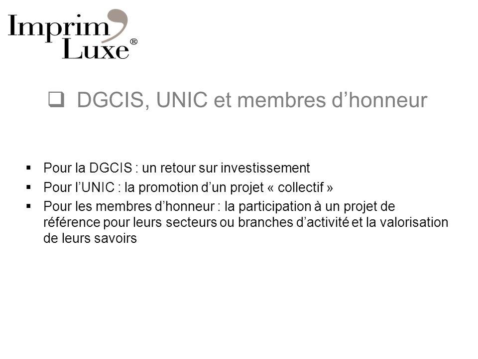 DGCIS, UNIC et membres dhonneur Pour la DGCIS : un retour sur investissement Pour lUNIC : la promotion dun projet « collectif » Pour les membres dhonn