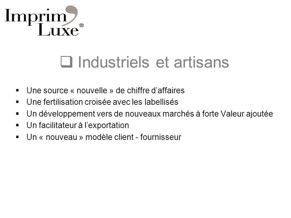 Industriels et artisans Une source « nouvelle » de chiffre daffaires Une fertilisation croisée avec les labellisés Un développement vers de nouveaux m