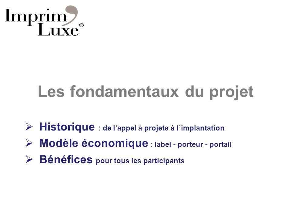 Les fondamentaux du projet Historique : de lappel à projets à limplantation Modèle économique : label - porteur - portail Bénéfices pour tous les part