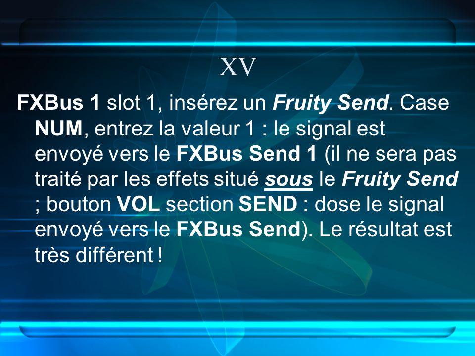XV FXBus 1 slot 1, insérez un Fruity Send.